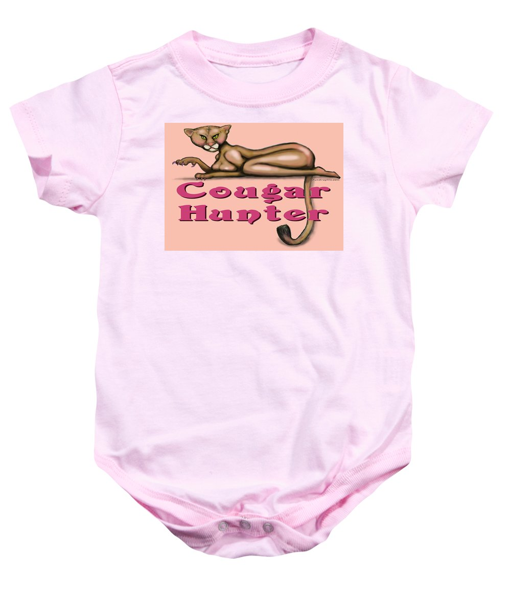 Cougar Baby Onesie featuring the greeting card Cougar Hunter by Kevin Middleton