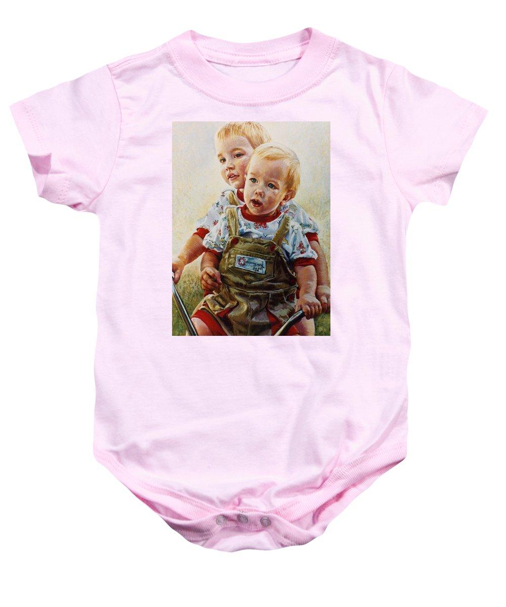 Pastel Portrait Baby Onesie featuring the pastel Cousins by Jean Hildebrant