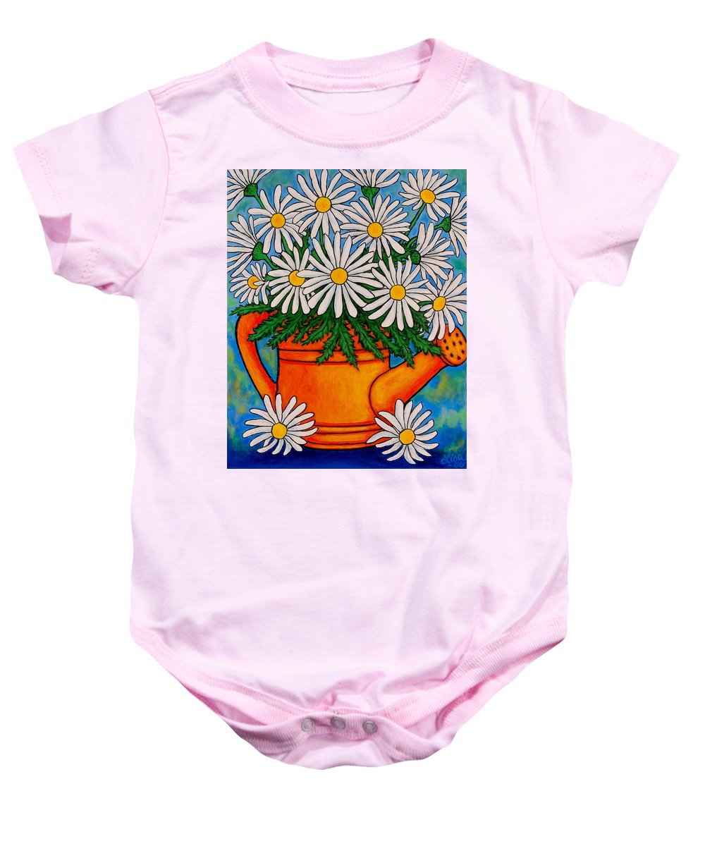 Daisies Baby Onesie featuring the painting Crazy For Daisies by Lisa Lorenz