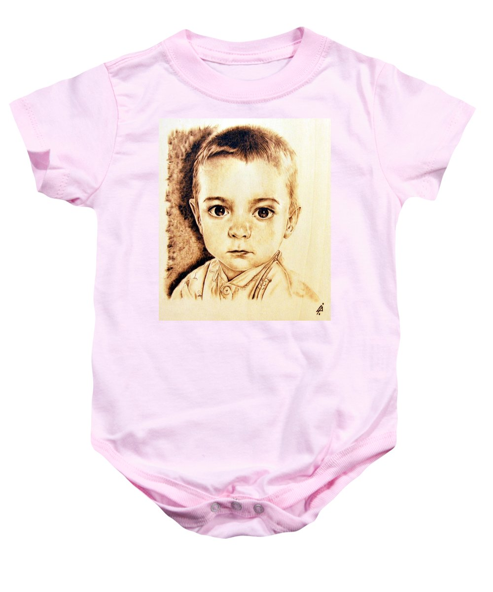 Baby Baby Onesie featuring the pyrography Cricciolo by Ilaria Andreucci