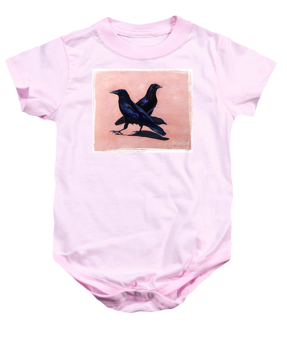Crows Baby Onesie featuring the painting Crows by Sandi Baker