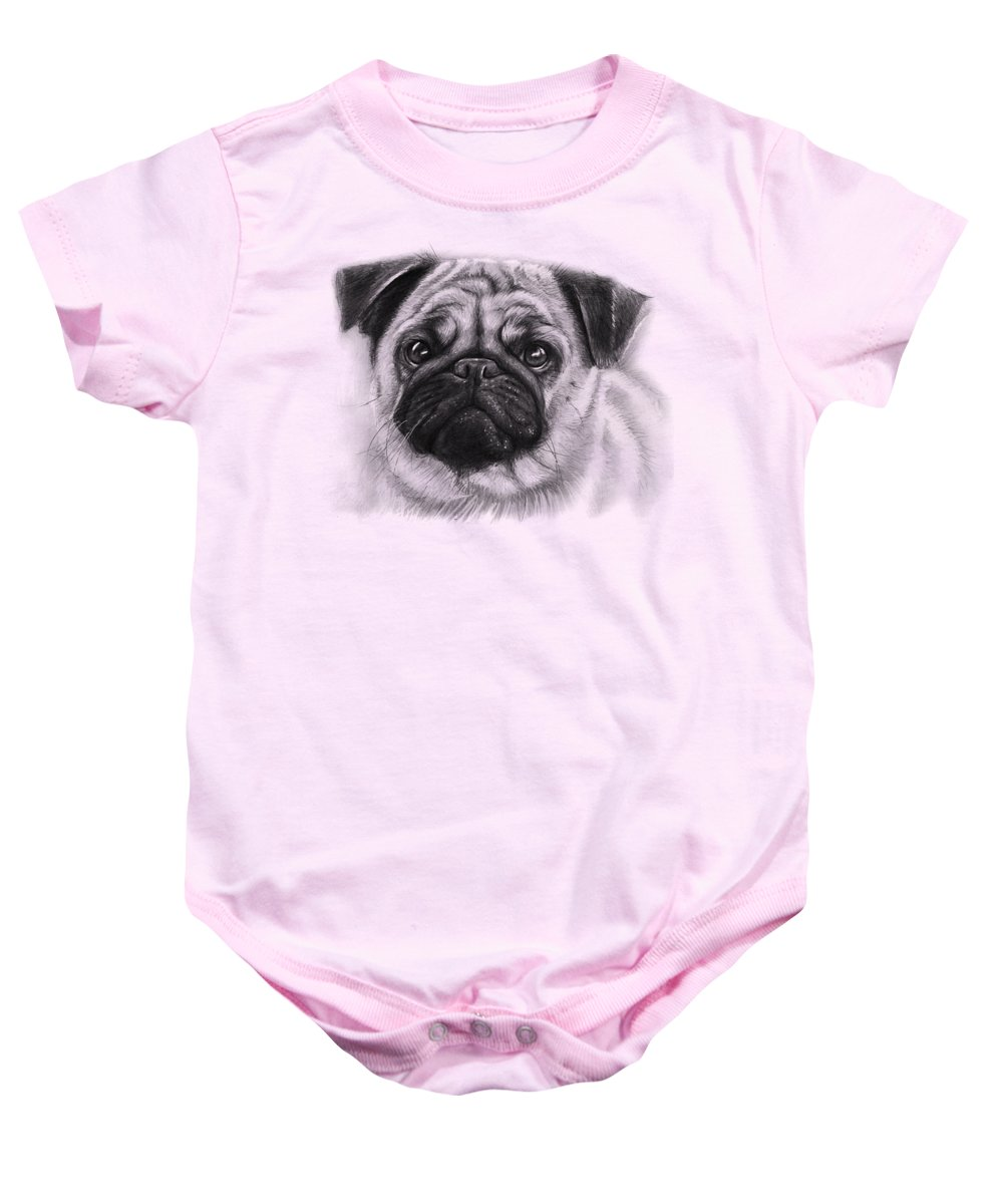 Dog Baby Onesie featuring the drawing Cute Pug by Olga Shvartsur