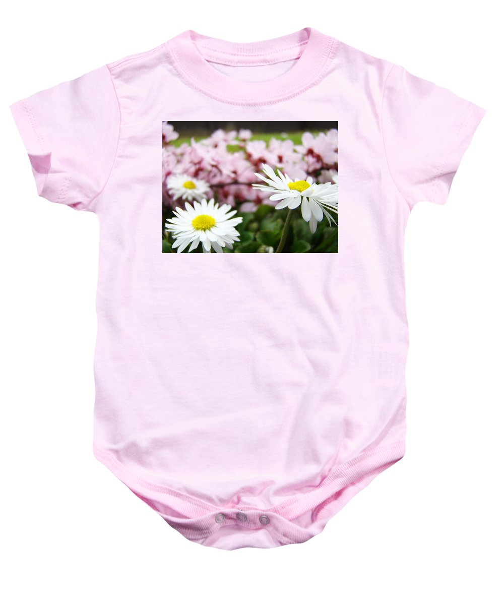 Daisies Baby Onesie featuring the photograph Daisies Flowers Art Prints Spring Flowers Artwork Garden Nature Art by Baslee Troutman