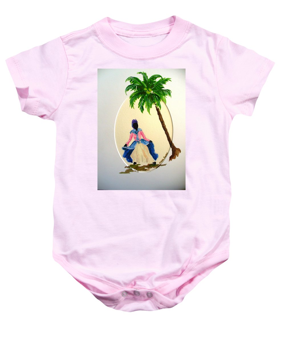 Dancer Caribbean Baby Onesie featuring the painting Dancer 2 by Karin Dawn Kelshall- Best