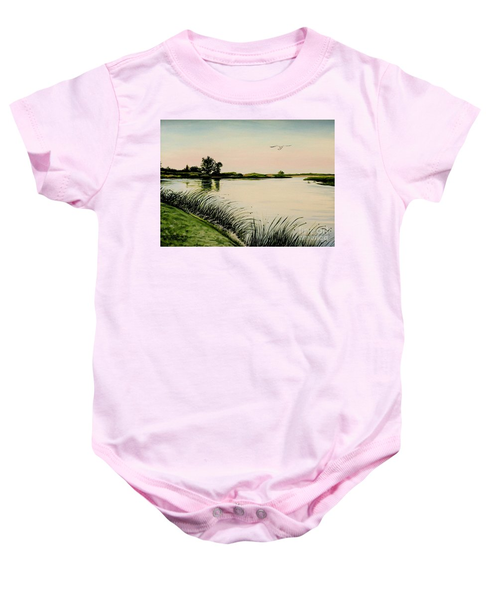 Landscape Baby Onesie featuring the painting Delta At Dusk by Elizabeth Robinette Tyndall