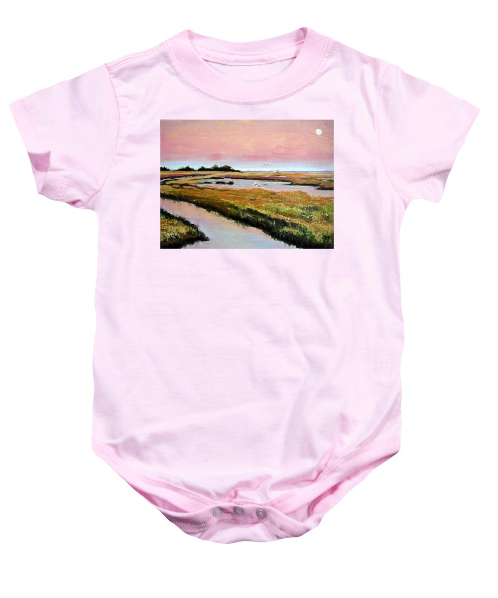 Acrylic Baby Onesie featuring the painting Delta Sunrise by Suzanne McKee