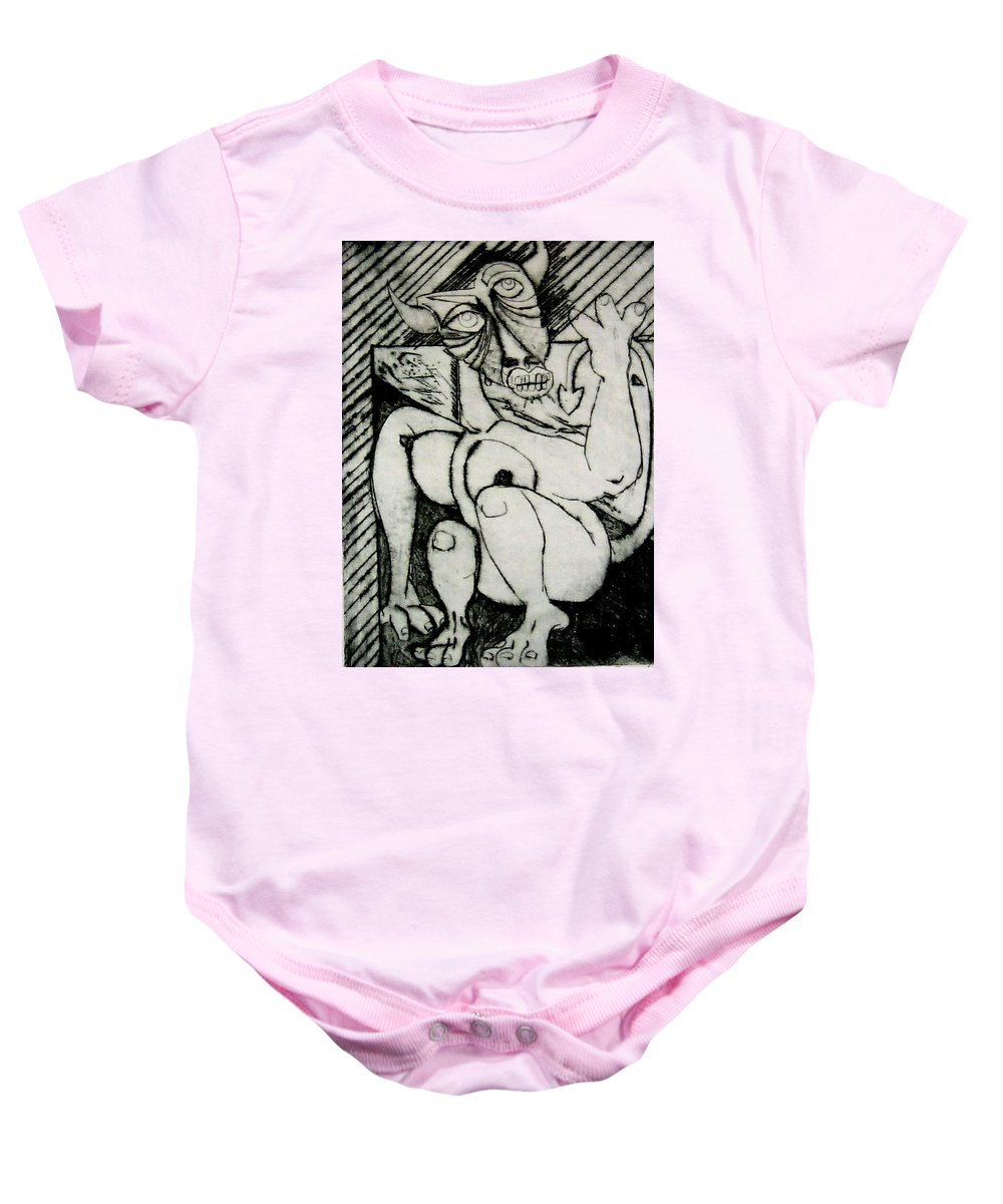 Gilr Baby Onesie featuring the print Devils Horse by Thomas Valentine