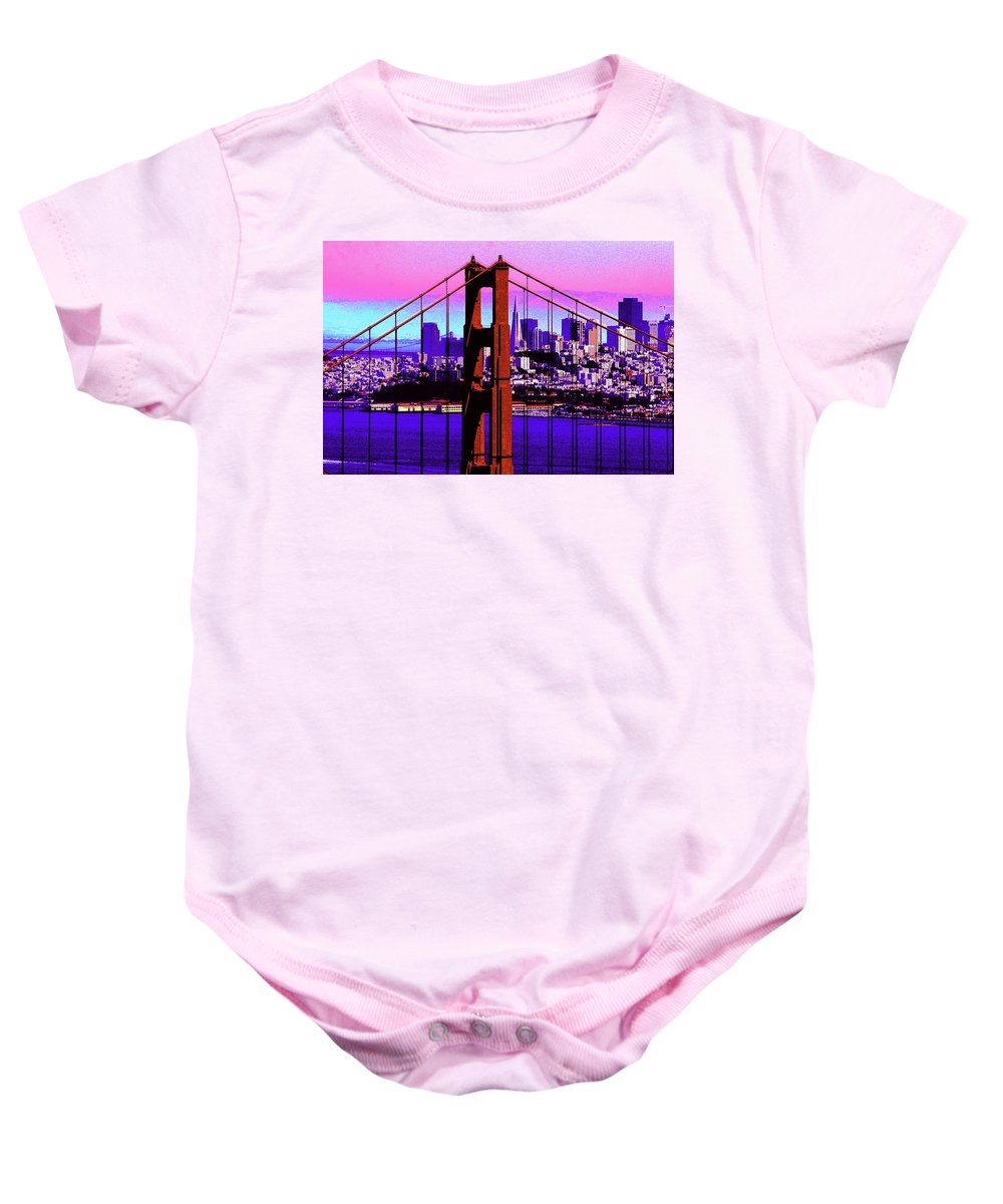 Bay Baby Onesie featuring the photograph Digital Sunset - Ggb by Lou Ford