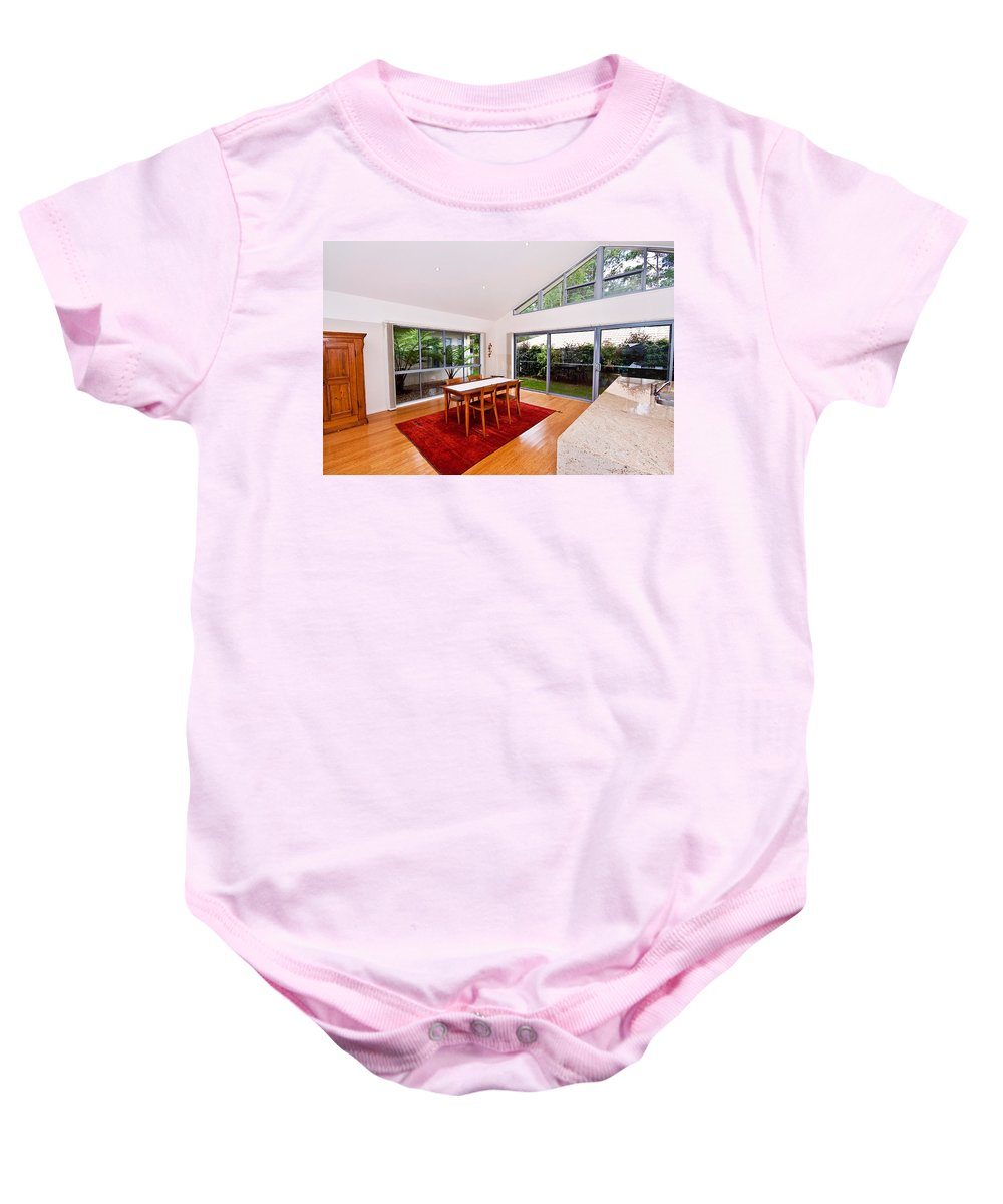 Slanted Baby Onesie featuring the photograph Dining Room With Slanted Ceiling by Darren Burton