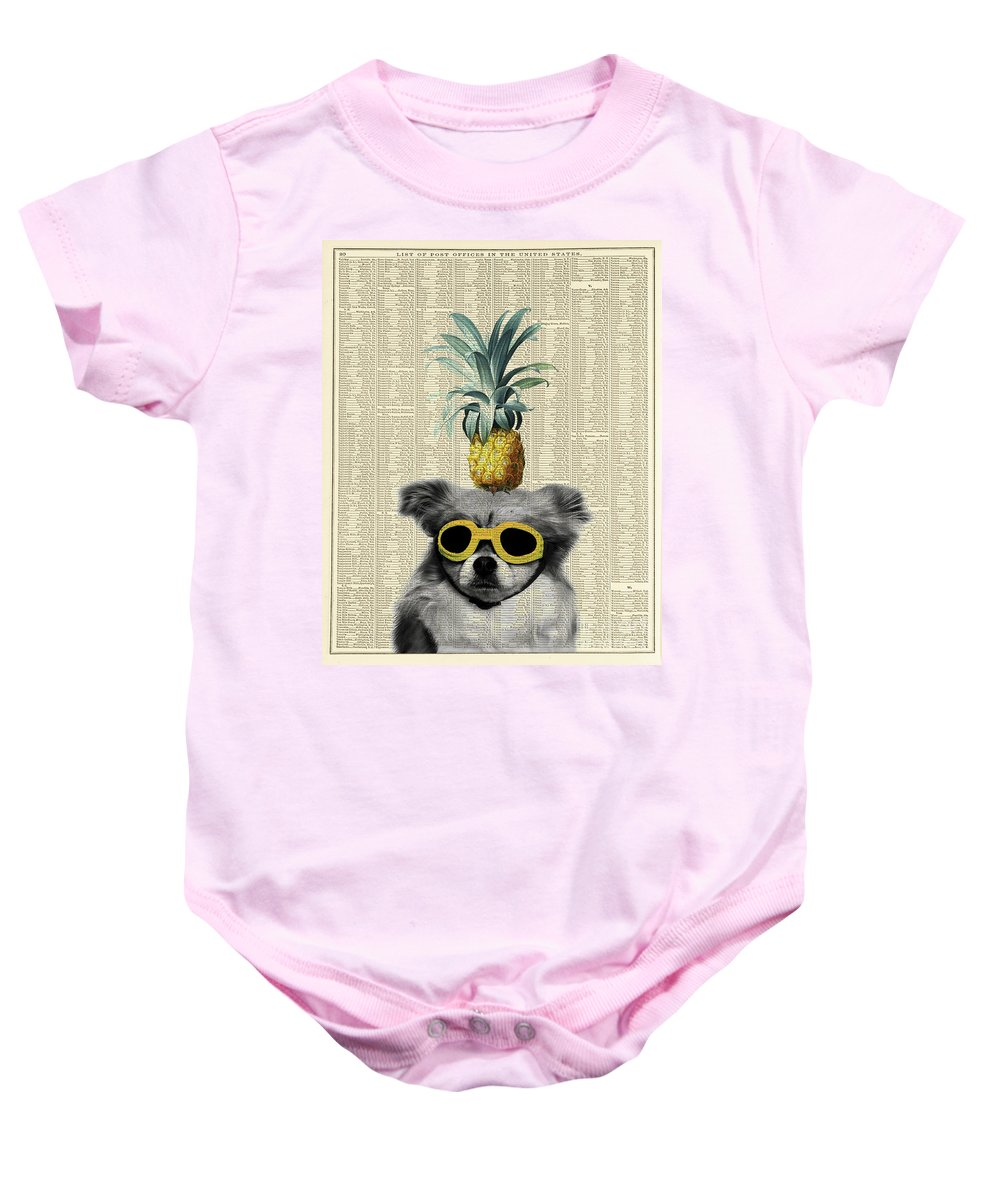 Dog Baby Onesie featuring the photograph Dog With Goggles And Pineapple by Delphimages Photo Creations