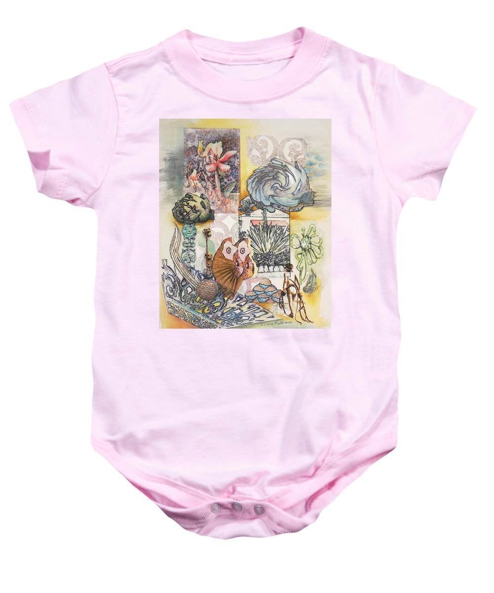 Abstract Baby Onesie featuring the painting Don't artichoke by Valerie Meotti