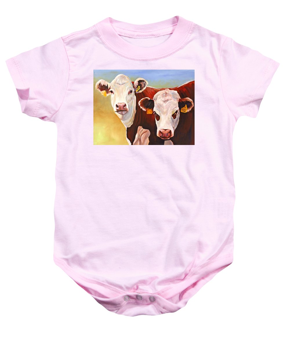 Hereford Baby Onesie featuring the painting Double Trouble Hereford Cows by Toni Grote