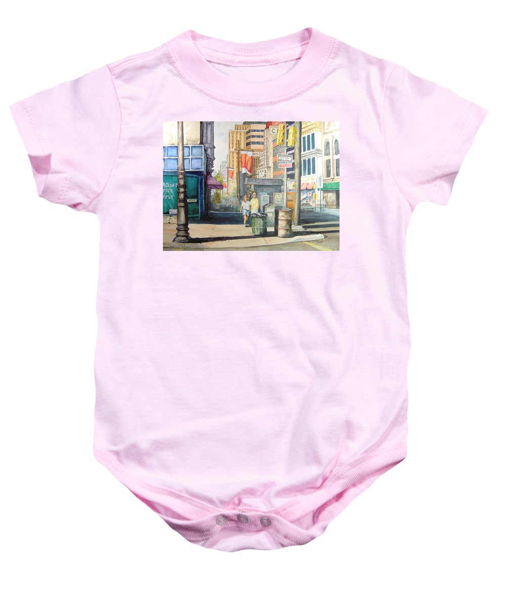 City Baby Onesie featuring the painting Downtown by Sam Sidders