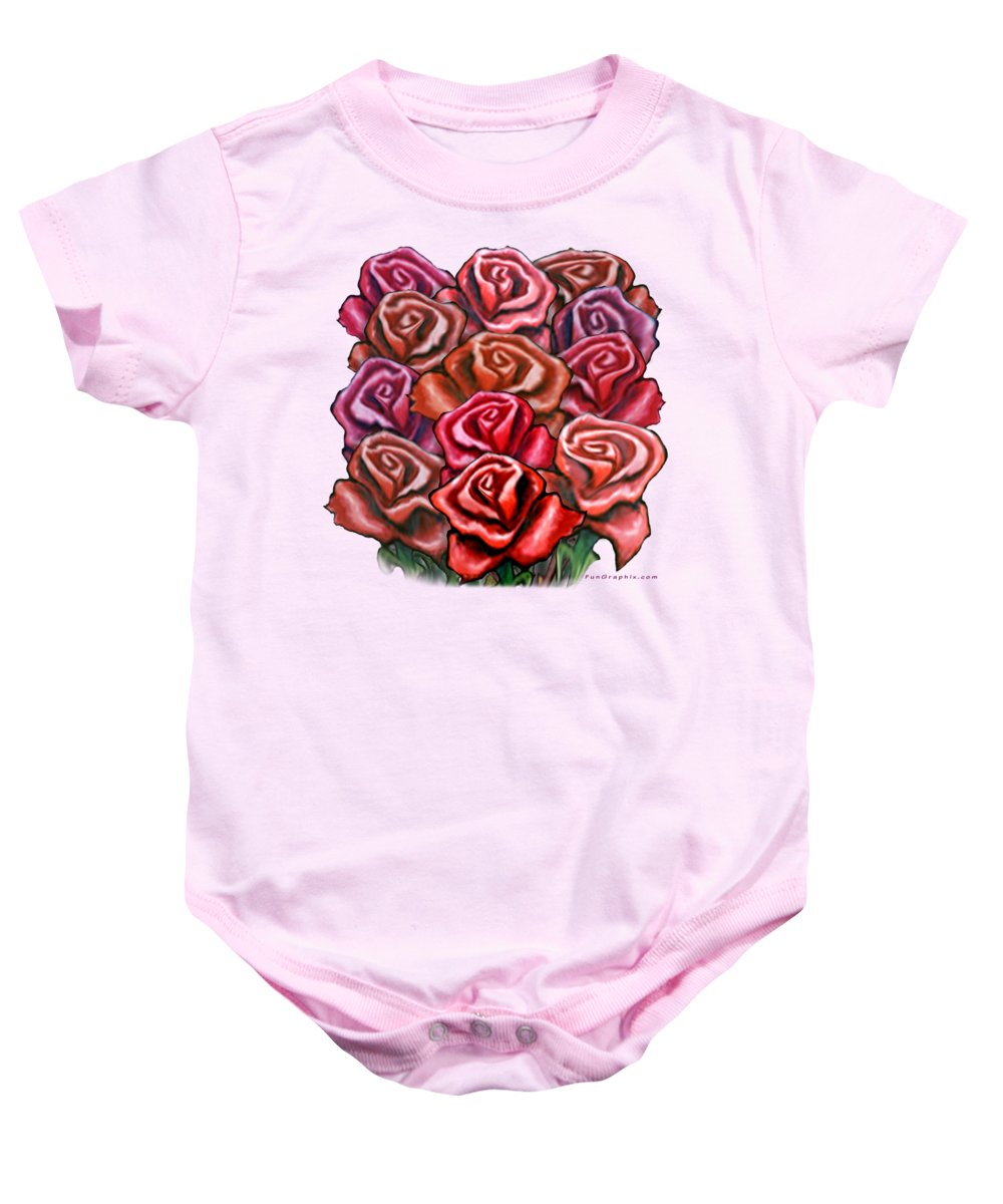 Rose Baby Onesie featuring the painting Dozen Roses by Kevin Middleton