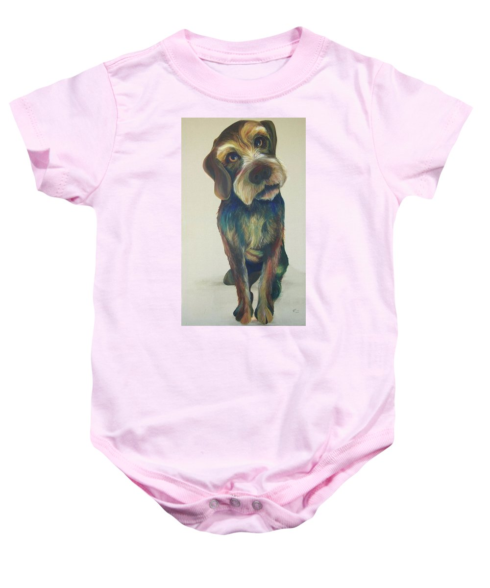 Drahthaar Baby Onesie featuring the painting Drahthaar Amadeus by Catt Kyriacou