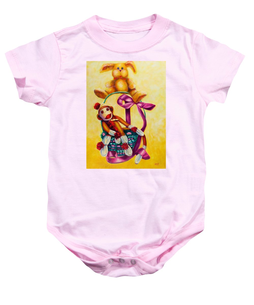 Easter Baby Onesie featuring the painting Easter Made Of Sockies by Shannon Grissom