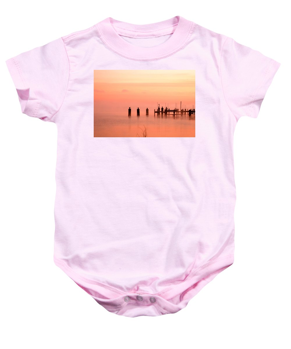 Clay Baby Onesie featuring the photograph Eery Morn by Clayton Bruster