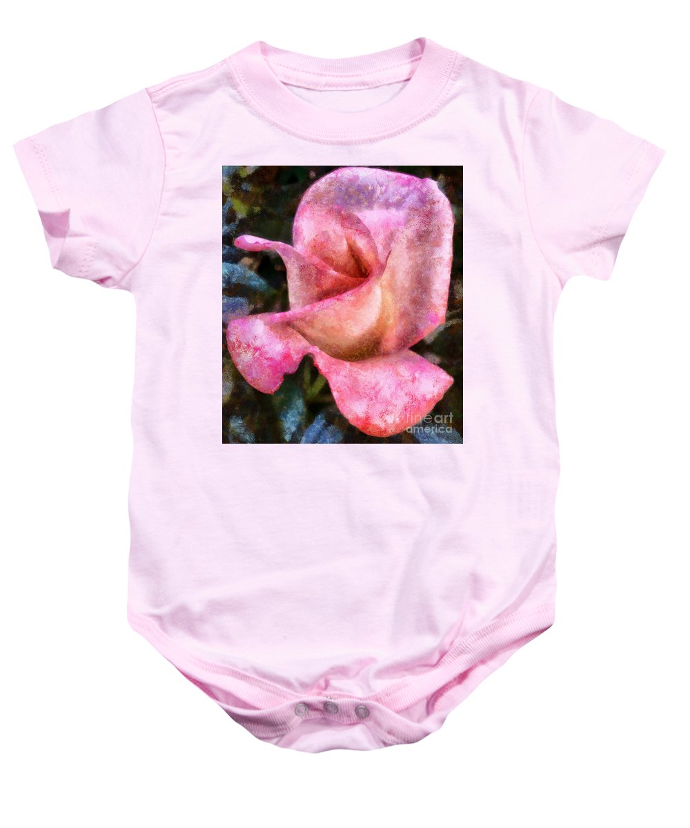 Rose Baby Onesie featuring the photograph Exquisite Pink by Krissy Katsimbras