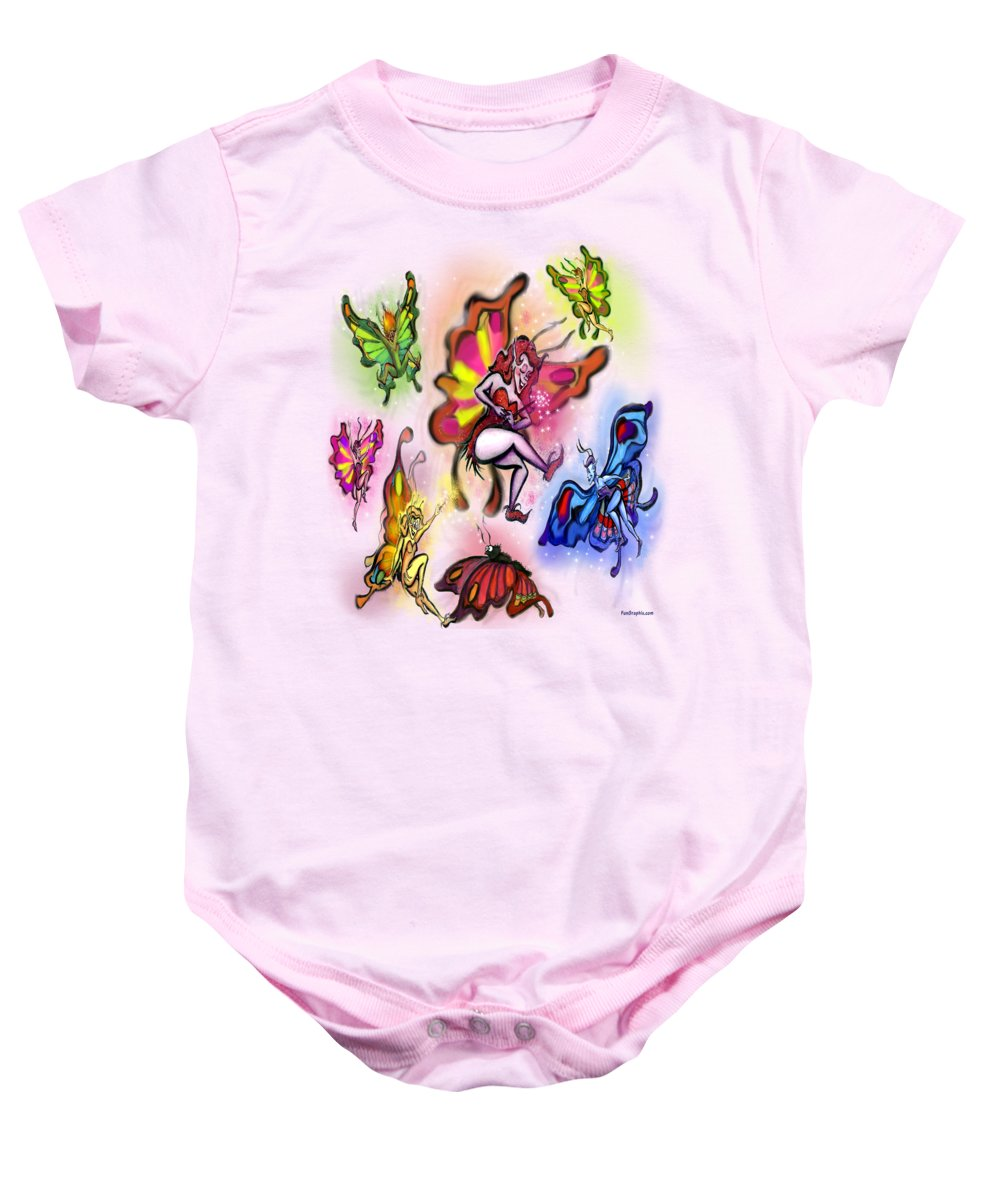 Faeries Baby Onesie featuring the painting Faeries by Kevin Middleton