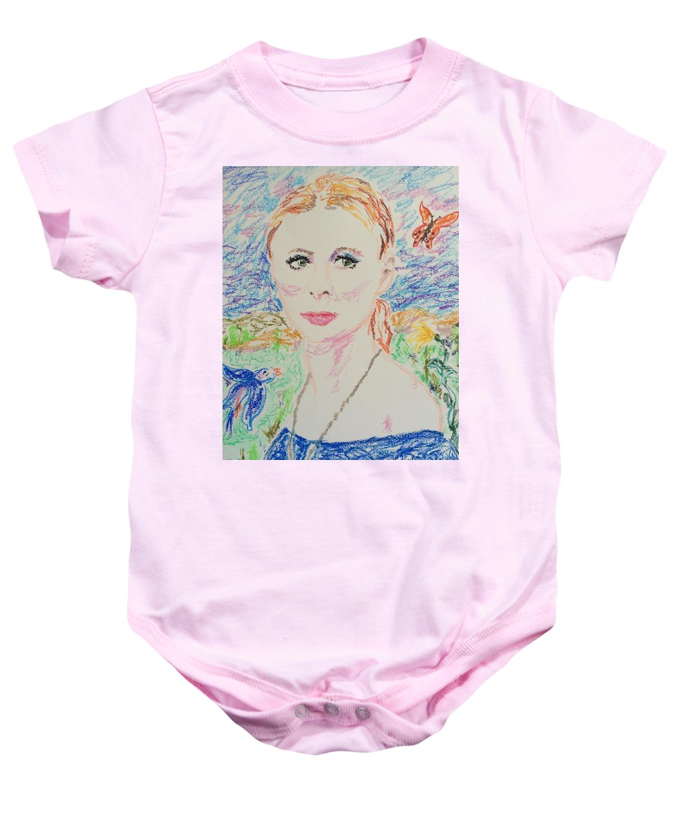 Fairy Queen Baby Onesie featuring the drawing Fairy Queen by N Willson-Strader