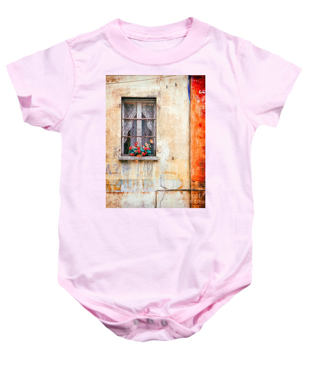 Architecture Baby Onesie featuring the photograph Fake Flowers On Window by Silvia Ganora