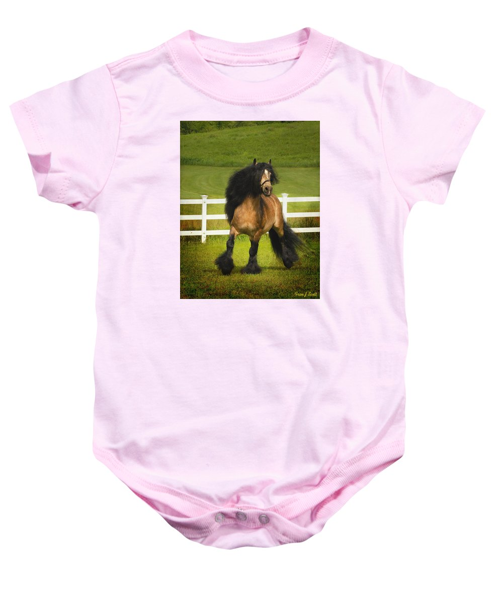 Horses Baby Onesie featuring the photograph Falcon C2 by Fran J Scott