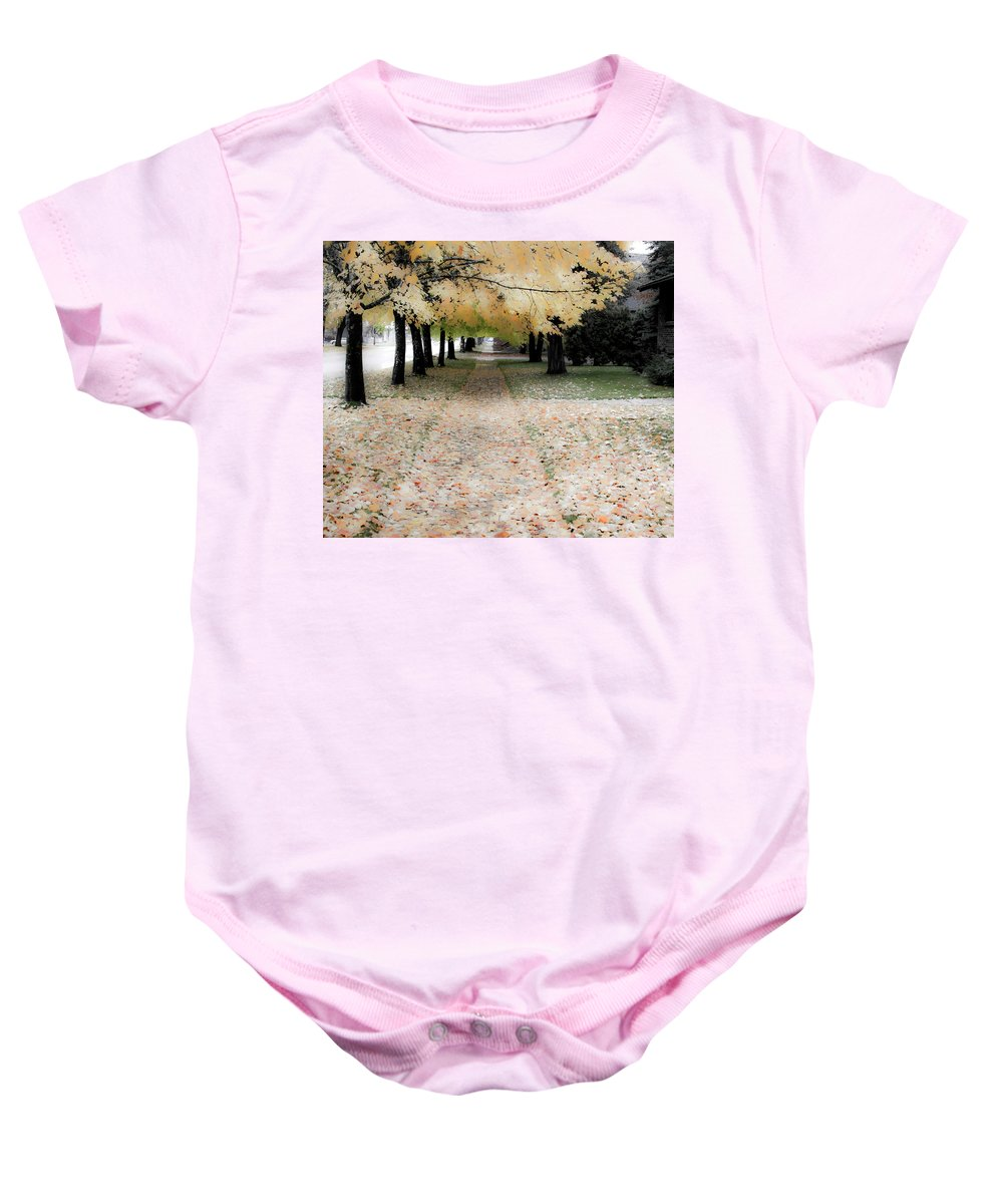 Sandpoint Baby Onesie featuring the photograph Fall On Oak Street by Lee Santa