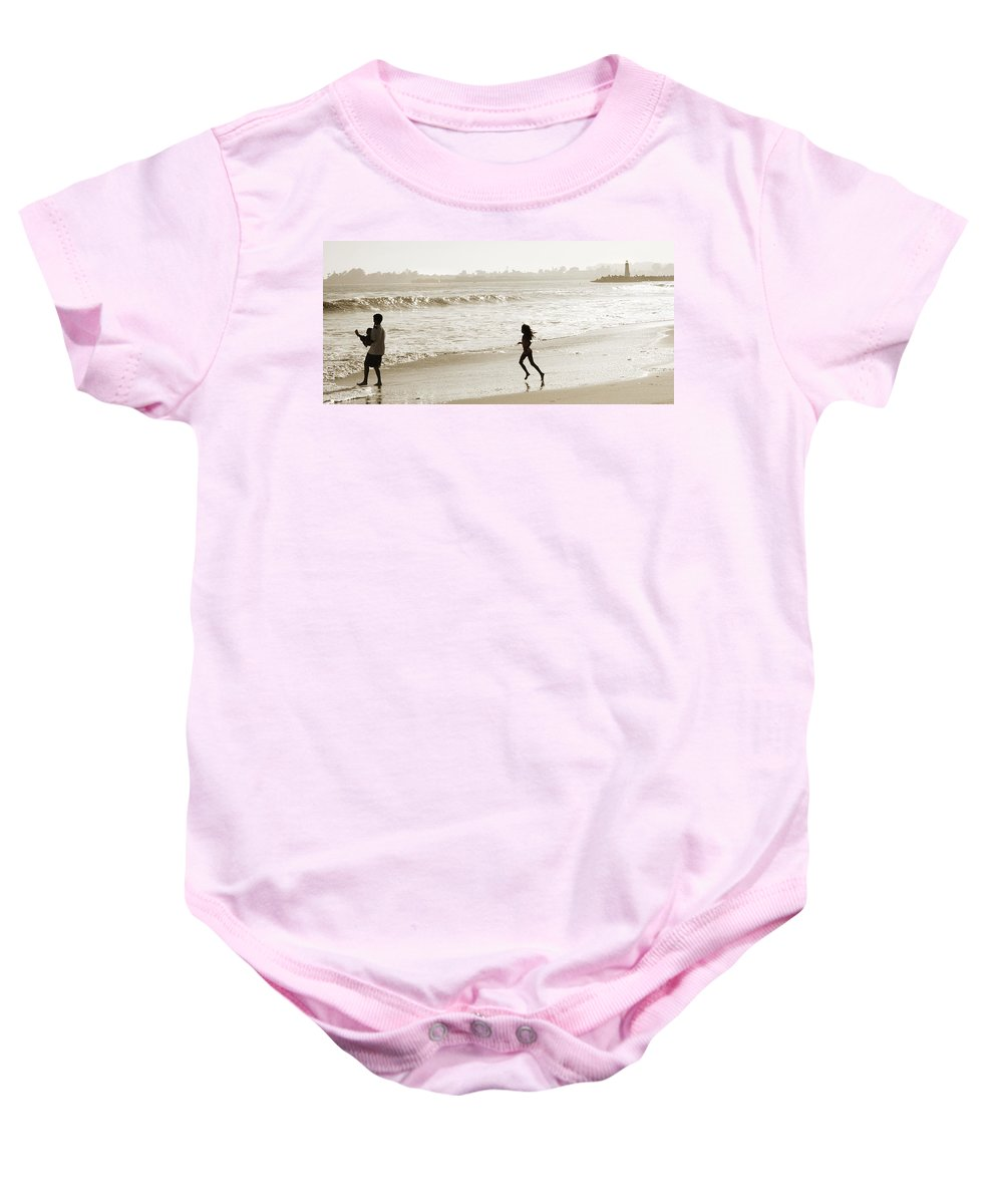 Family Baby Onesie featuring the photograph Family At Play On Beach by Marilyn Hunt