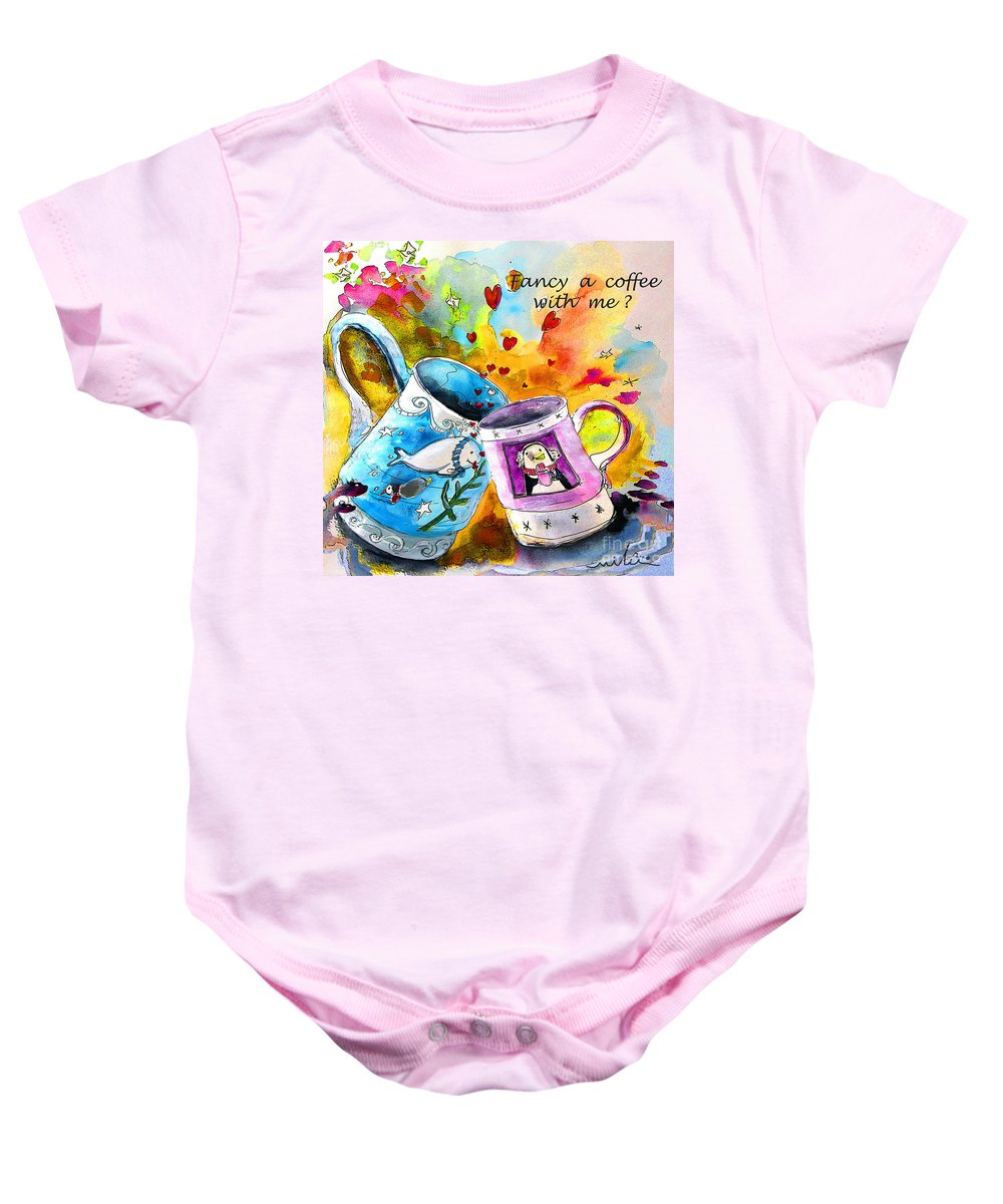 Cafe Crem Baby Onesie featuring the painting Fancy A Coffee by Miki De Goodaboom