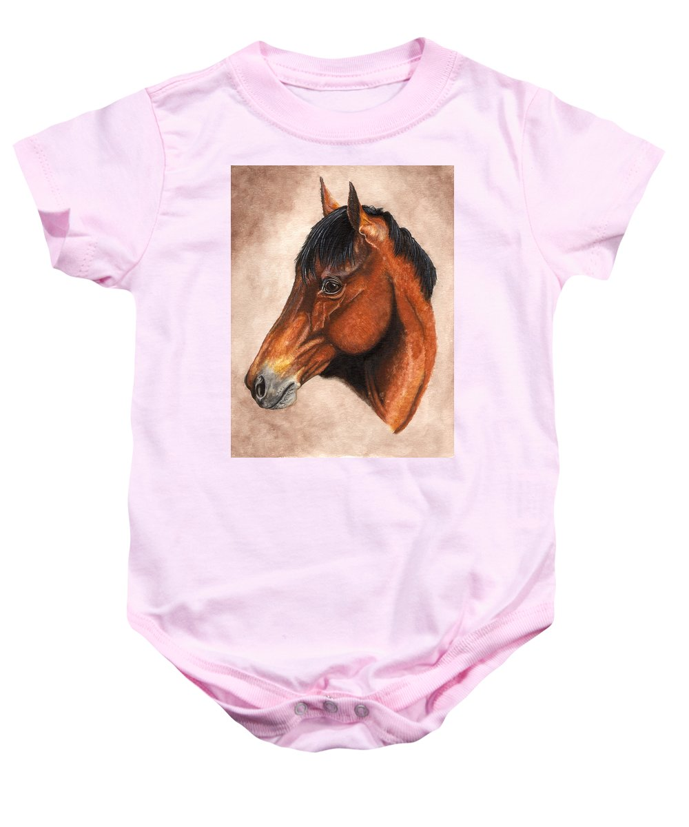 Horse Baby Onesie featuring the painting Farley by Kristen Wesch