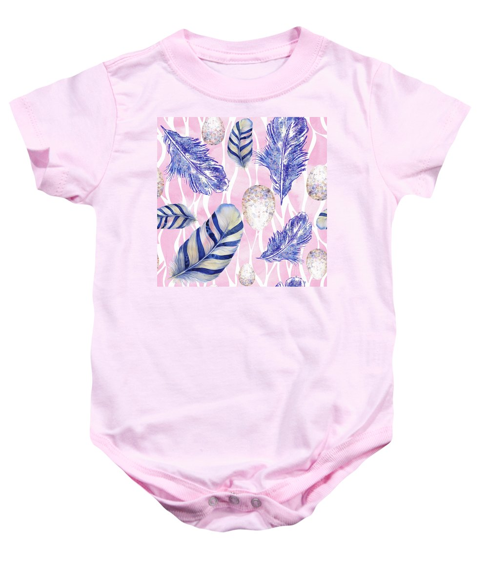 Feathers Baby Onesie featuring the painting Feathers And Eggs Pattern by Tina Lavoie