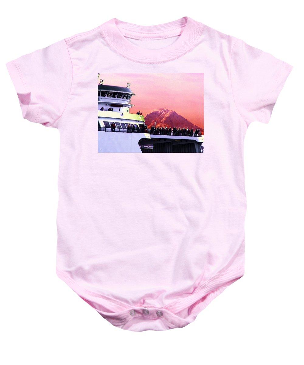 Seattle Baby Onesie featuring the digital art Ferry And Da Mountain by Tim Allen