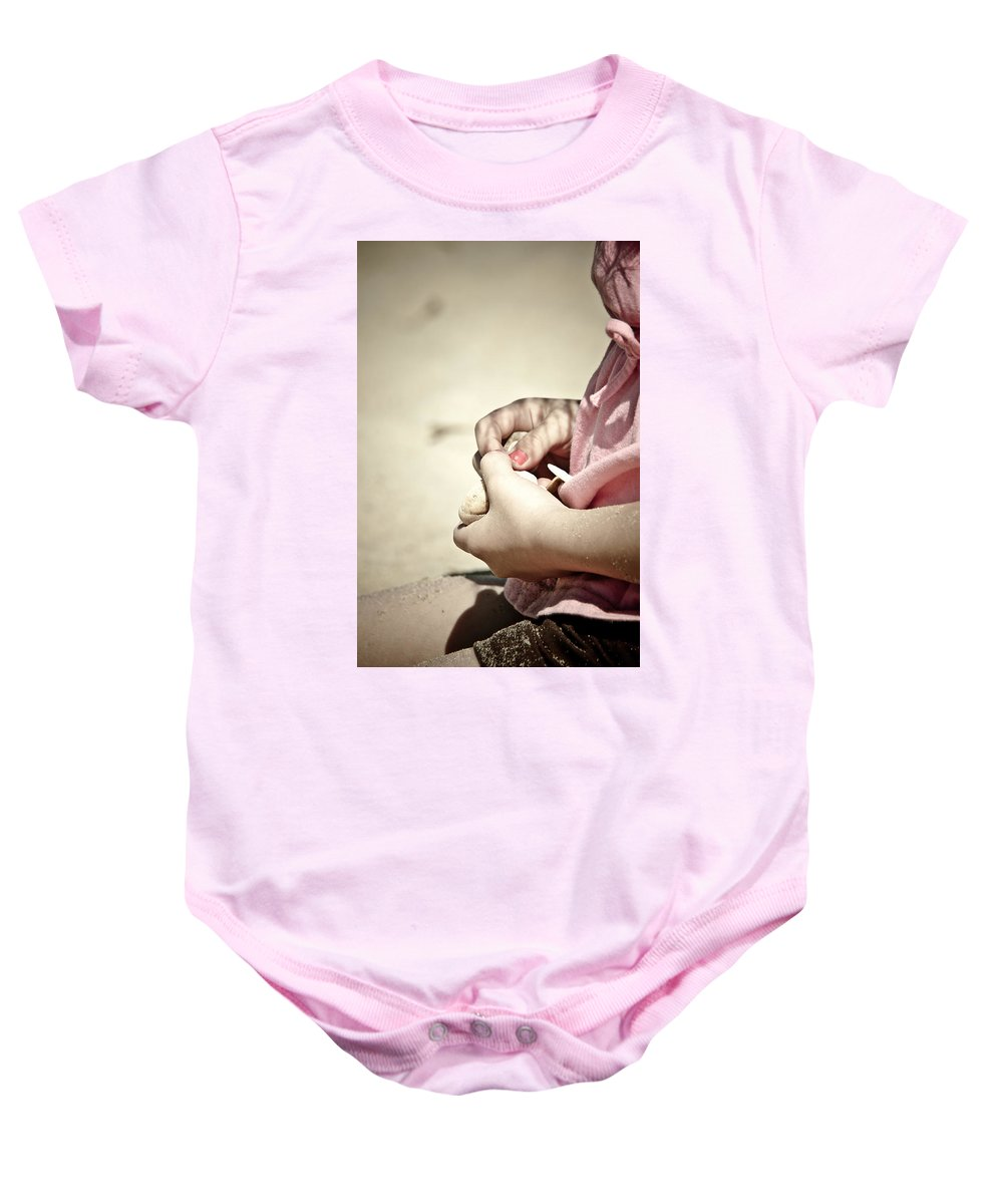 Girl Baby Onesie featuring the photograph Finding Treasures by Trish Tritz