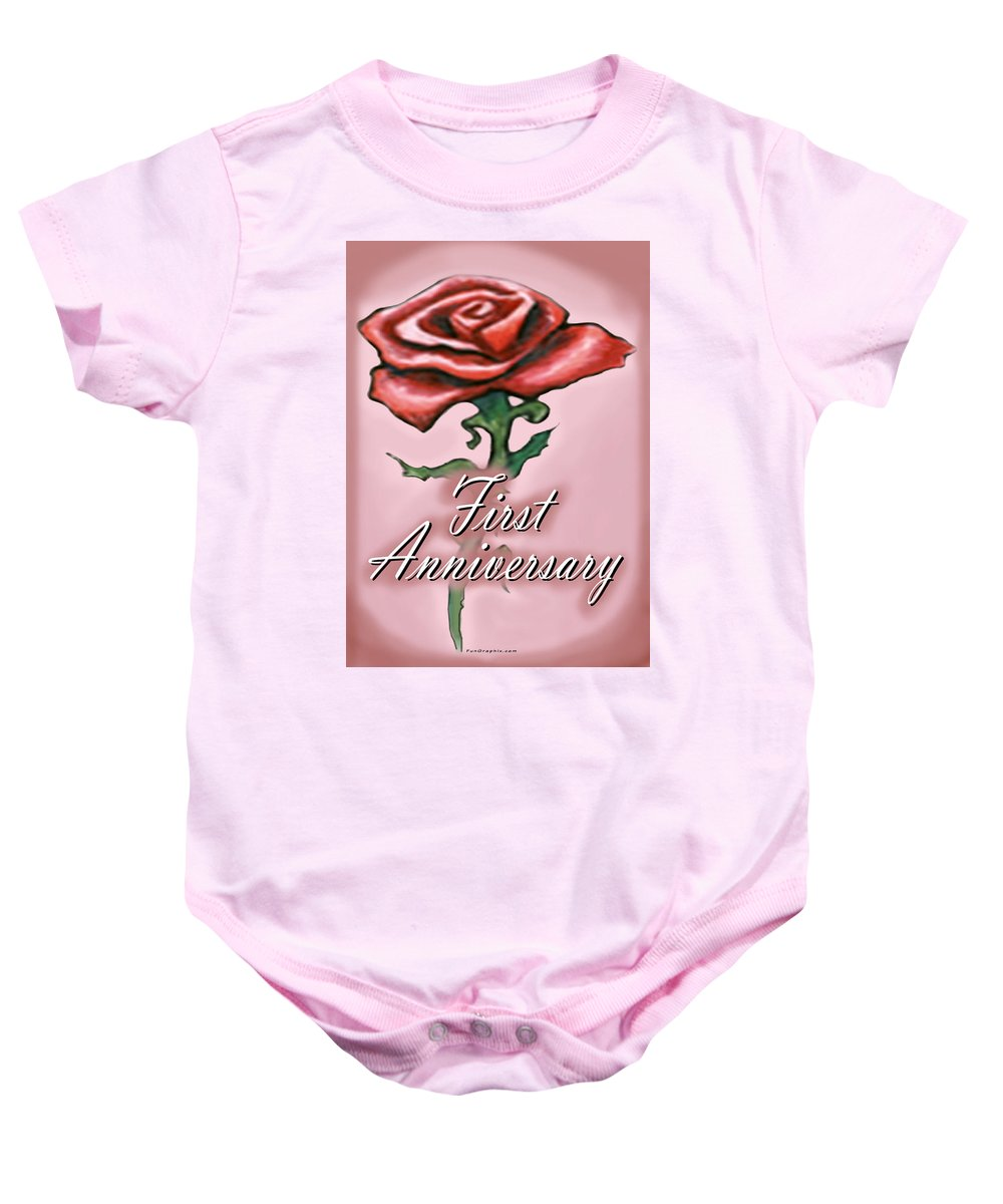 First Baby Onesie featuring the greeting card First Anniversary by Kevin Middleton
