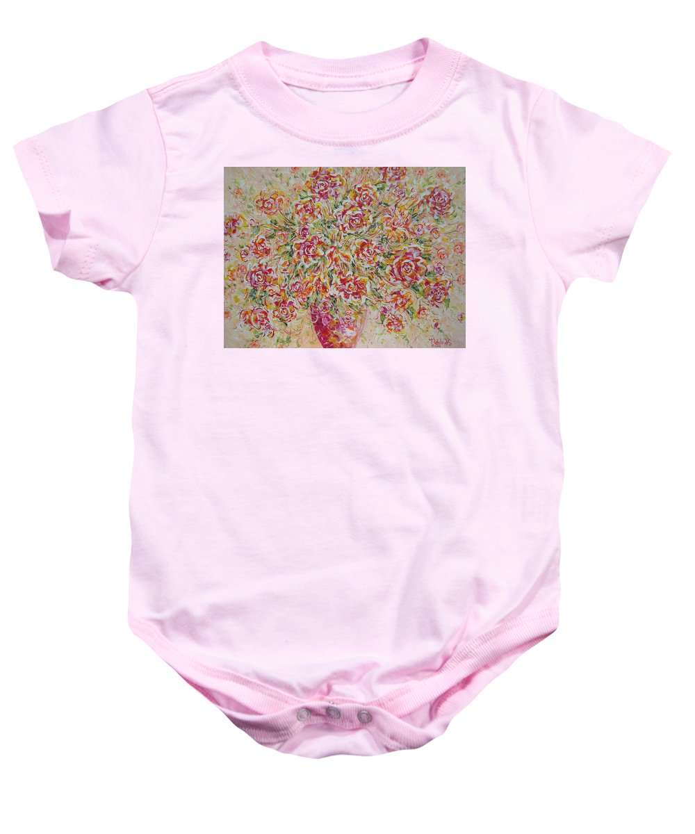 Flowers. Floral Baby Onesie featuring the painting First Love Flowers by Natalie Holland