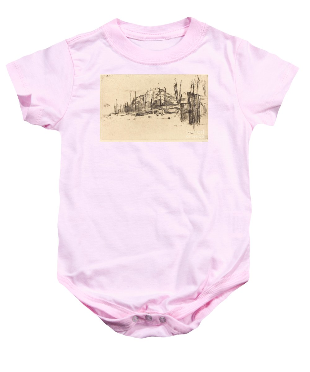 Baby Onesie featuring the drawing Fishing-boats, Hastings by James Mcneill Whistler