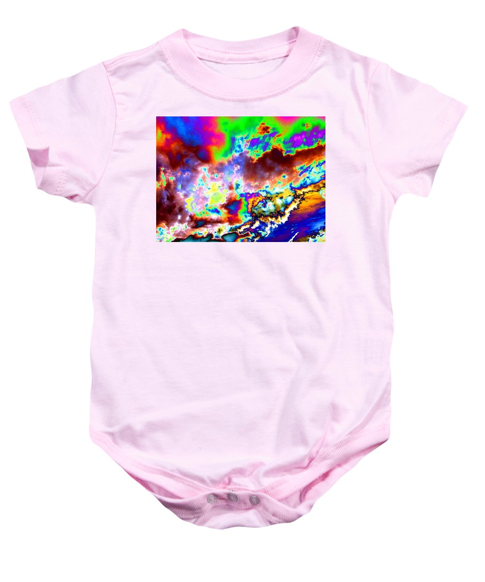 Flamboyant Cloudscape Baby Onesie featuring the digital art Flamboyant Cloudscape by Will Borden
