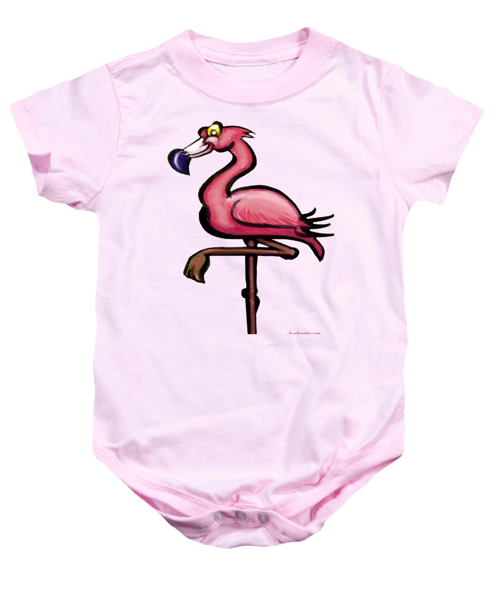 Flamingo Baby Onesie featuring the painting Flamingo by Kevin Middleton