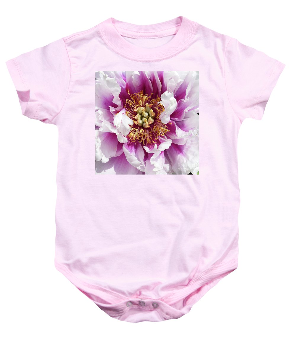 Flower Baby Onesie featuring the photograph Flower Power In Pink by Paula Joy Welter