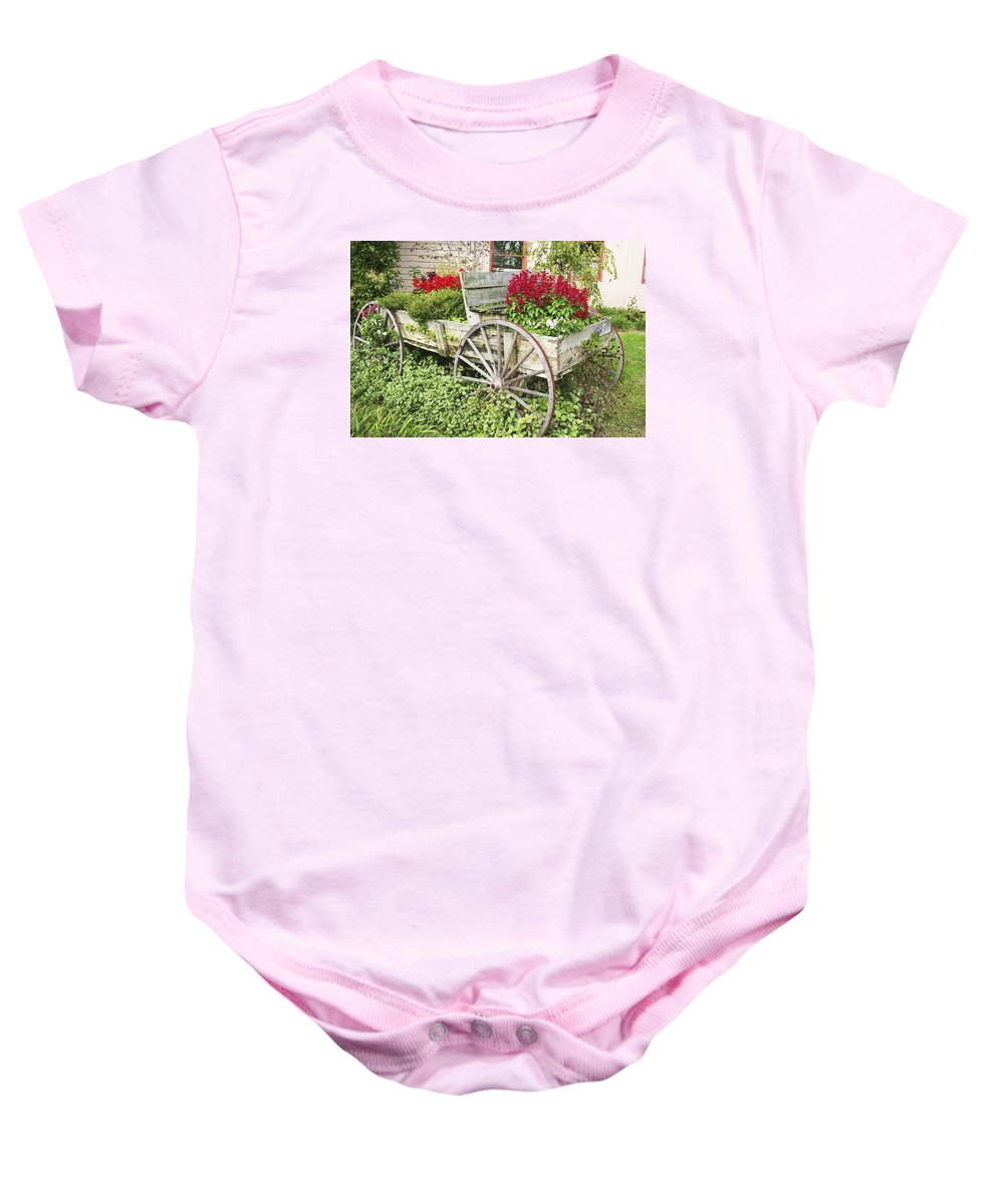 Wagon Baby Onesie featuring the photograph Flower Wagon by Margie Wildblood