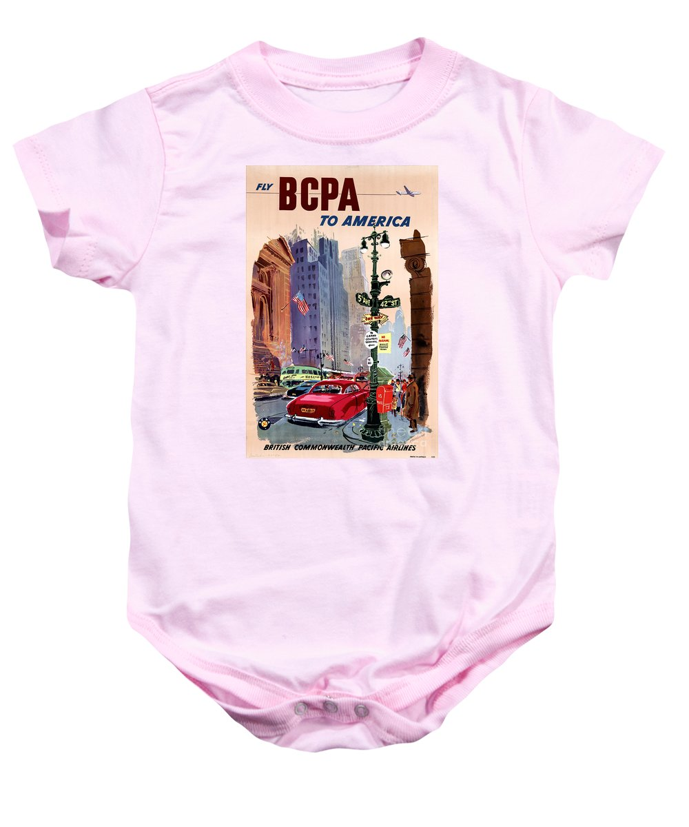 Airlines Baby Onesie featuring the painting Fly Bcpa To America Vintage Poster Restored by Carsten Reisinger