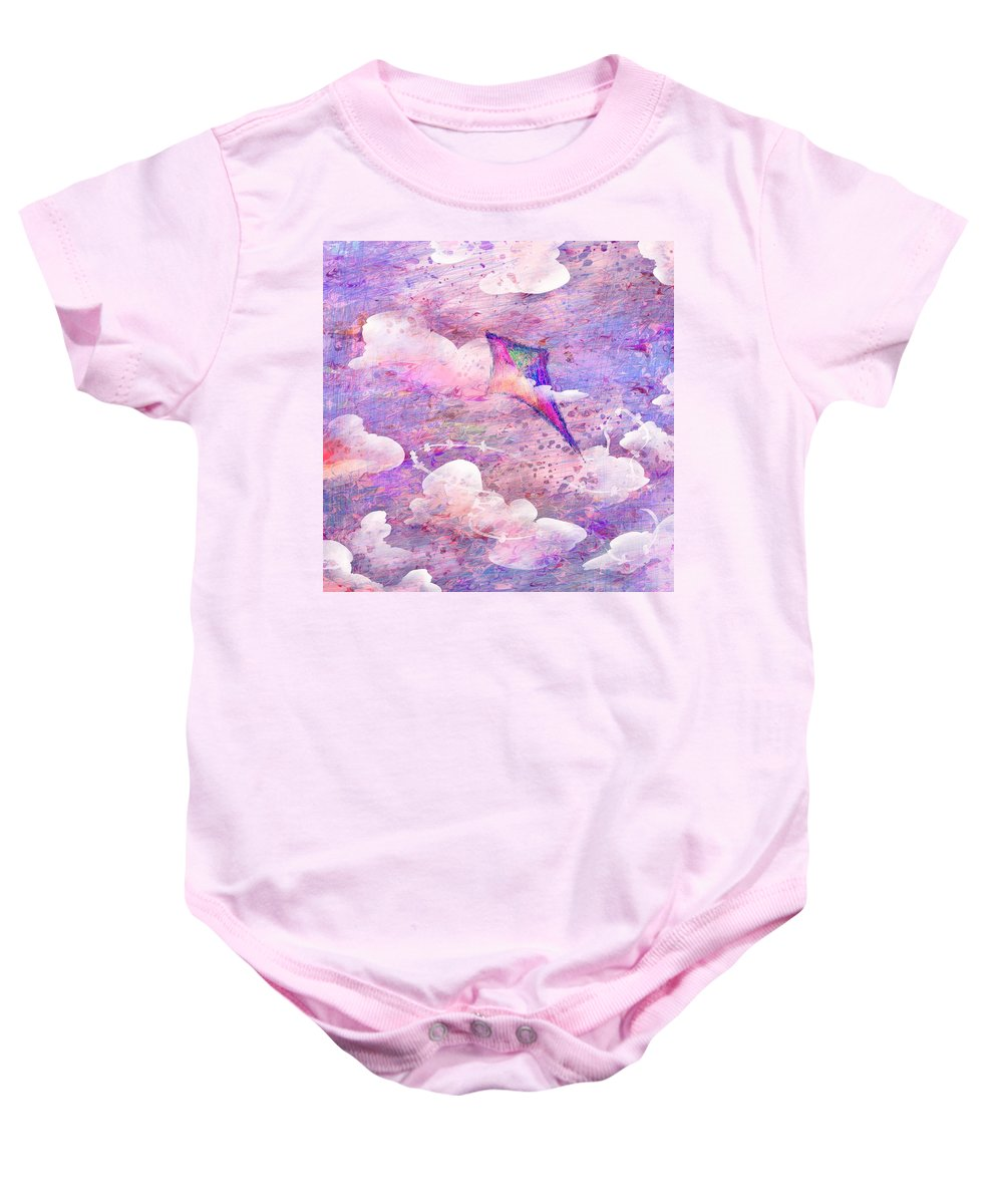 Abstract Baby Onesie featuring the digital art Flying High by Rachel Christine Nowicki