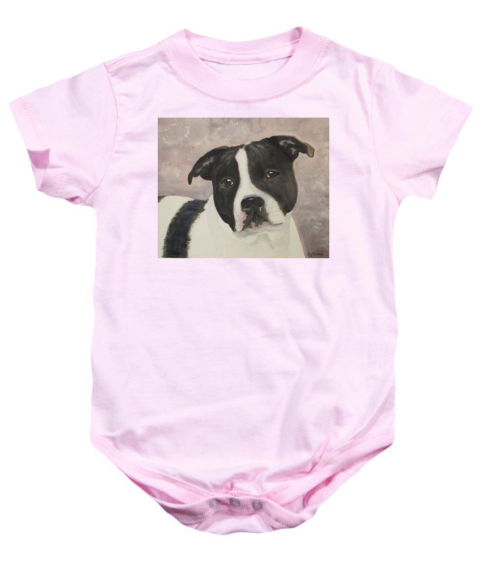 Dog Baby Onesie featuring the painting For Me by Ally Benbrook