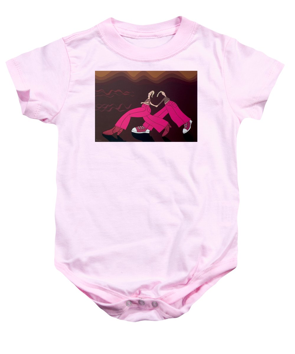 Girls Baby Onesie featuring the painting Fourteen by Patricia Van Lubeck