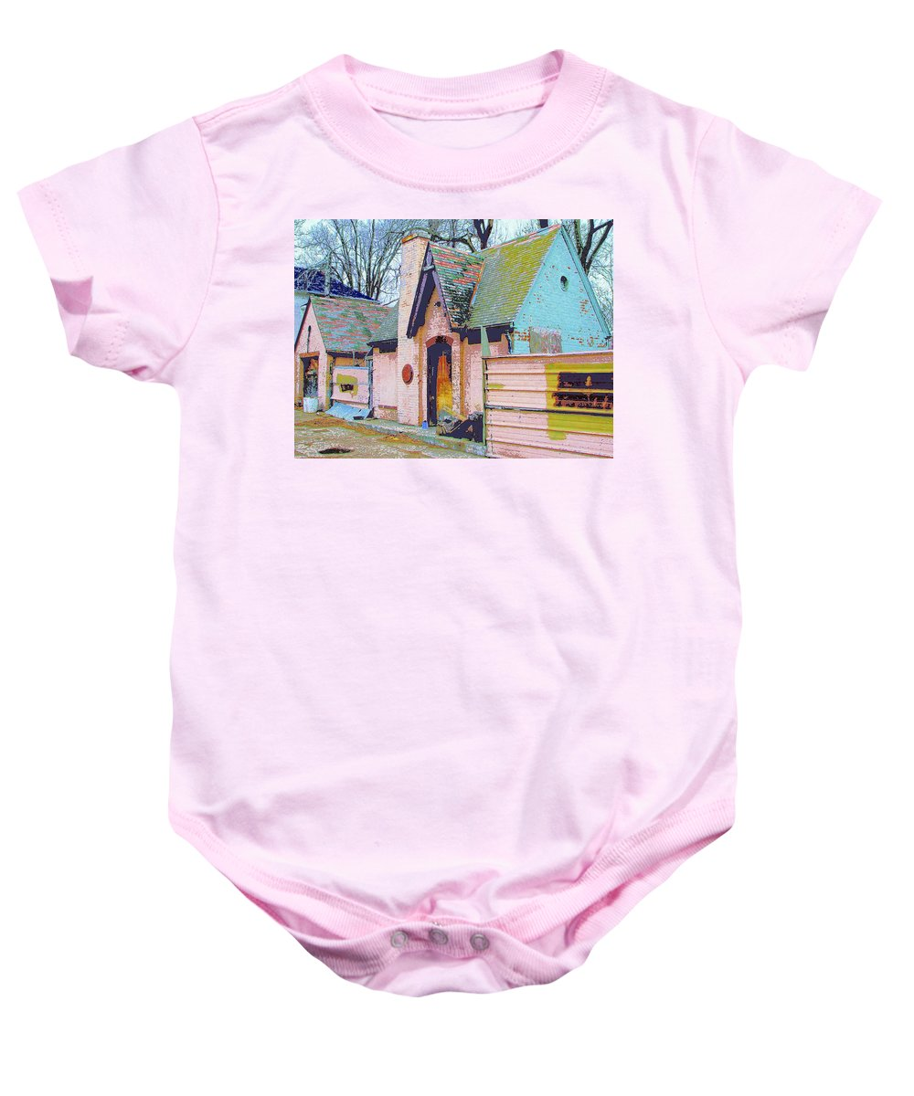 Old House Baby Onesie featuring the mixed media Frank Lloyd Wrong by Dominic Piperata