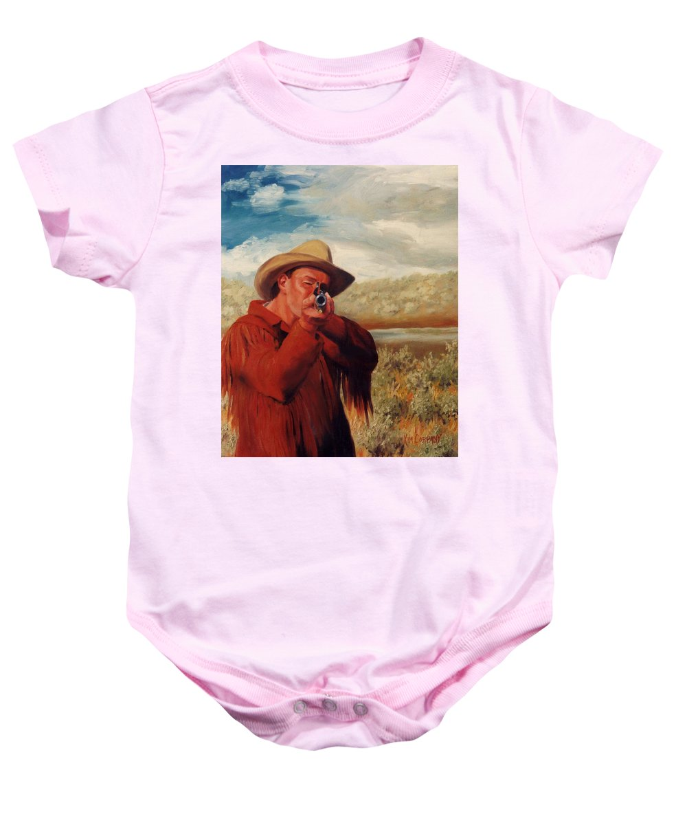 Cowboy Baby Onesie featuring the painting Freeze  Rifleman With Muzzle Loader Western Painting by Kim Corpany