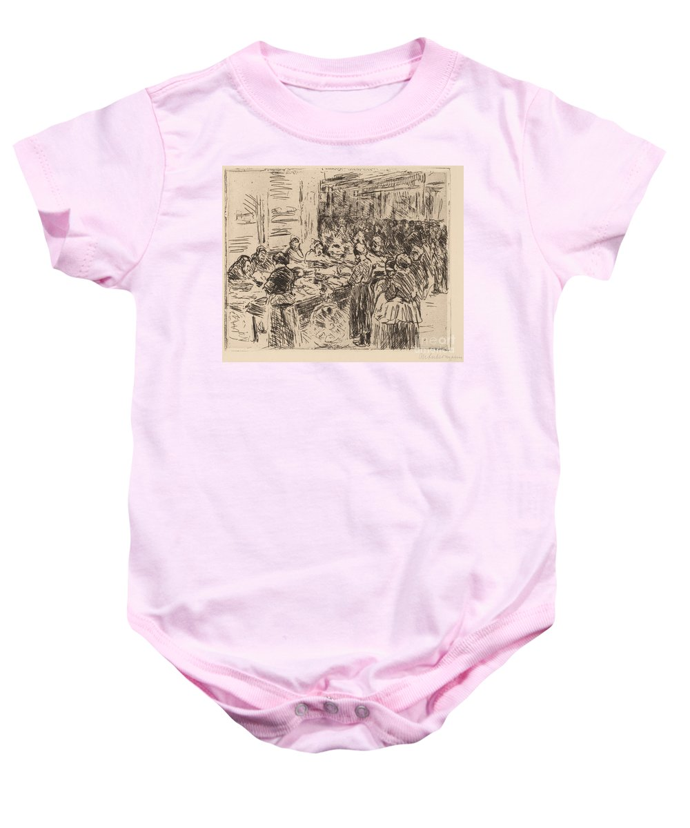 Baby Onesie featuring the drawing From The Jewish Quarter In Amsterdam: Fishmarket On The Street Corner by Max Liebermann