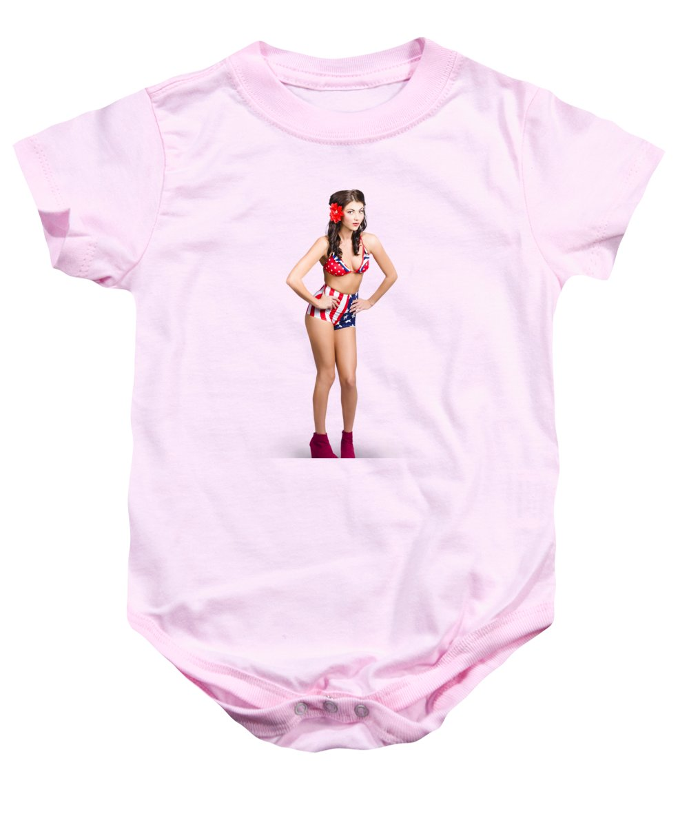 7e45d11b7 Pinup Baby Onesie featuring the photograph Full Body Pin-up Girl. American  Retro Style