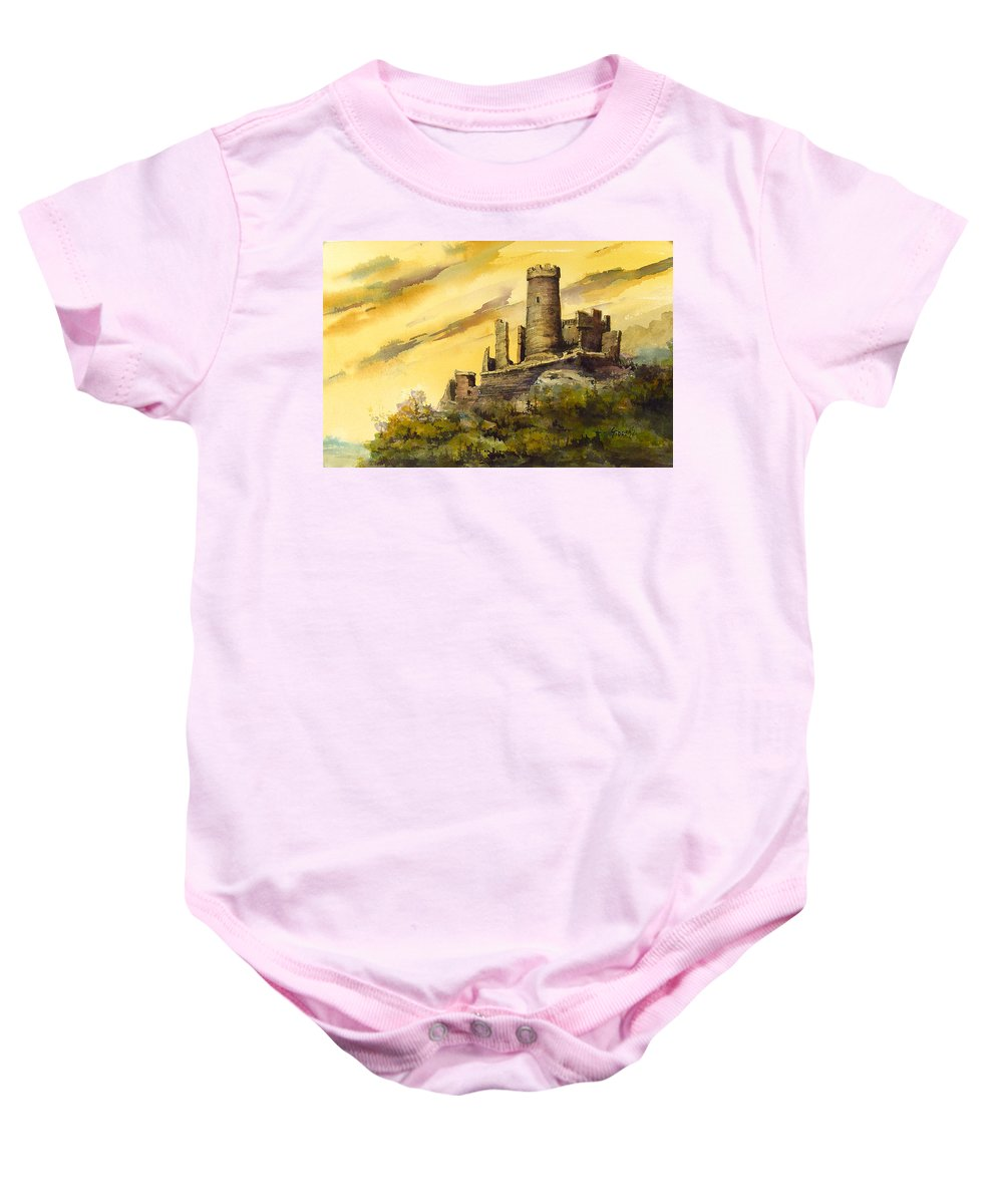 Castle Baby Onesie featuring the painting Furstenburg On The Rhine by Sam Sidders
