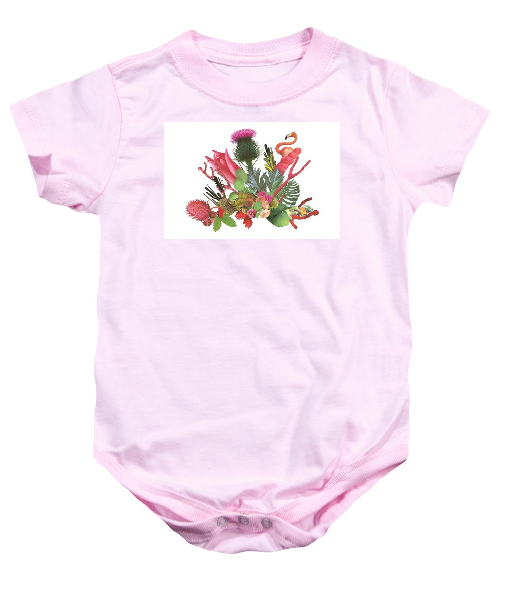 Flowers Baby Onesie featuring the mixed media Fuzzy Flowers by Marsha Ross